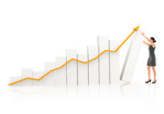 Business woman with a growth graph Royalty Free Stock Photos