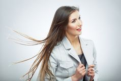 Business woman. Hair in motion. Stock Photo
