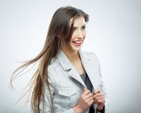 Business woman. Hair in motion. Isolated girl portrait Stock Photography