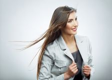 Business woman. Hair in motion. Isolated girl portrait Royalty Free Stock Images