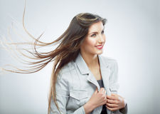 Business woman. Hair in motion. Royalty Free Stock Photos