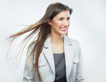 Business woman. Hair in motion. Isolated girl portrait Stock Image