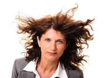 Business woman hair in the wind isolated Stock Photography