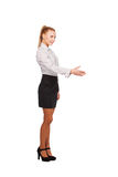 Business woman with hand extended for a handshake Stock Photos