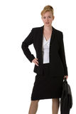 Business woman with hand on hip. Carrying briefcase standing over white Stock Photo