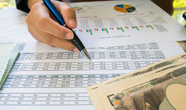 Business woman hand hold pen and on Statement or financial report and japan money in business concept.  Stock Image