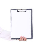 Business woman hand holding blank clipboard Stock Images