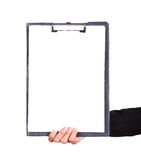 Business woman hand holding blank clipboard isolated Royalty Free Stock Photography