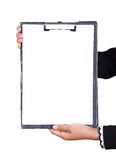 Business woman hand holding blank clipboard isolated Royalty Free Stock Photos
