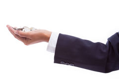 Business woman hand holding coins Stock Images