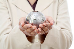 Business woman hand holding jigsaw puzzle globe Royalty Free Stock Photos