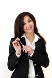 Business woman hand holding key Royalty Free Stock Images