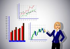 Business Woman Hand Points To Graphs stock illustration