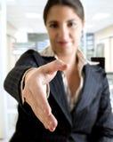 Business woman hand shake Royalty Free Stock Photo