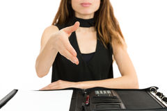 Business woman hand shake Royalty Free Stock Photography
