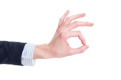 Business woman hand showing ok perfect sign Stock Image