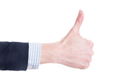 Business woman hand showing thumb up Stock Images
