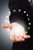 Business Woman Hand with Social Icons Royalty Free Stock Images