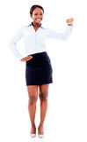 Business woman with hand on something Royalty Free Stock Photography