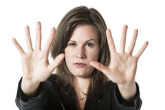 Business woman hand stop Royalty Free Stock Images