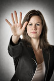 Business woman hand stop stock image