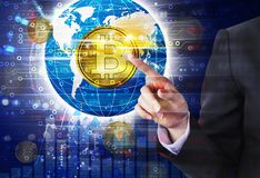 Business woman hand touching bitcoin design stock photo