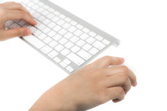Business woman hand typing on laptop keyboard with mo Royalty Free Stock Photography