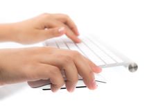 Business woman hand typing on laptop keyboard with mouse Stock Images