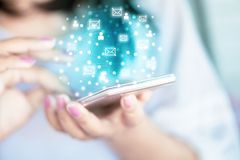 Business woman hand using smart phone for sending and receiving an emails. For business marketing stock image