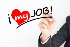 Business woman hand writing I love my job Stock Image