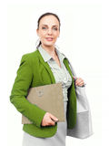 Business woman with handbag and folder Royalty Free Stock Image