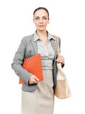 Business woman with handbag and folder Stock Image