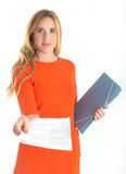 Business woman handing a document Stock Images