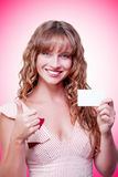 Business woman handing over a blank business card Stock Photos
