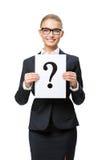 Business woman handing question mark Stock Photo
