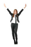 A business woman with hands in the air. Isolated Stock Images