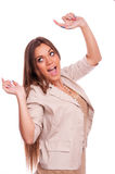 Business woman with hands in the air Royalty Free Stock Photo