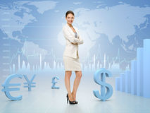 Business woman with hands crossed on currency exchange background. Concept of leadership and success on stock exchange Royalty Free Stock Photos