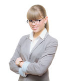 Business woman with hands folded over Royalty Free Stock Images