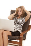 Business woman hands in hair laptop Royalty Free Stock Photography