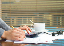 Business woman hands in office Royalty Free Stock Images