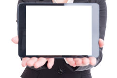 Business woman hands presenting tablet with blank white display Royalty Free Stock Photos