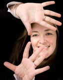 Business Woman with hands on screen Stock Photos