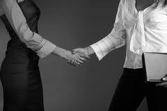 Business woman handshake. Black white Stock Photo