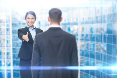 Business woman handshake gesturing with manager stock image