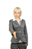 Business woman handshake isolated on white Royalty Free Stock Photos