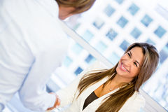 Business woman handshaking Royalty Free Stock Photography