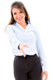 Business woman handshaking Stock Image