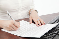 Business woman handwriting Royalty Free Stock Image