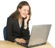 Business woman - happy browsing! Royalty Free Stock Images